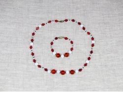 Комплект бусы и браслет из агата и лунного камня от Nur