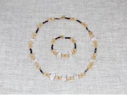 Комплект бусы и браслет из аметрина, турмалина, цитрина и хрусталя от Nur