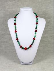 Комплект бусы и браслет из красного и зеленого агата от Nur
