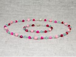 Комплект бусы и браслет из разных натуральных камней от Nur