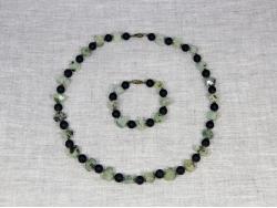 Комплект бусы и браслет из шунгита и граната от Nur