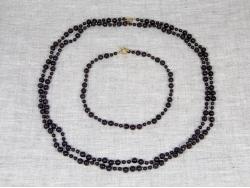 Комплект бусы и браслет из темного граната от Nur