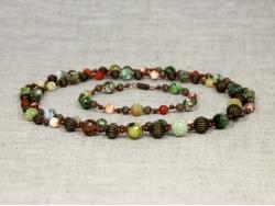 Комплект бусы и браслет из зеленого агата от Nur