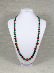 Комплект бусы и браслет из зеленого и красного агата от Nur