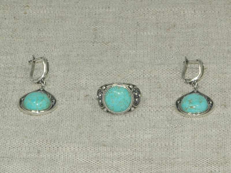 Комплект кольцо и серьги из голубой бирюзы