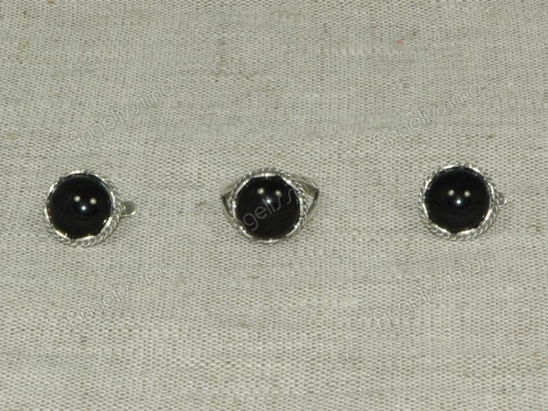 Комплект кольцо и серьги из черного оникса