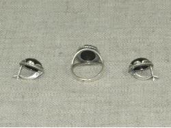 Комплект кольцо и серьги из темно-зеленого змеевика