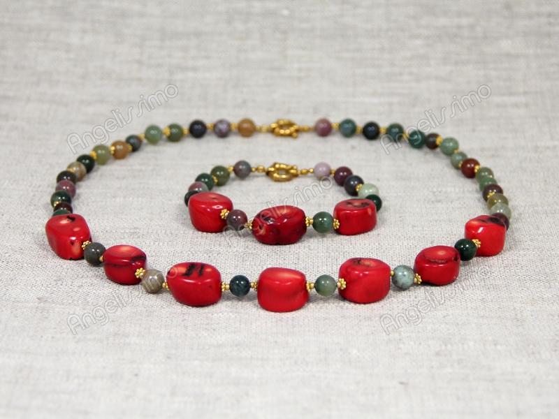 Комплект Наира - ожерелье и браслет из красного коралла и зеленого агата от Nur